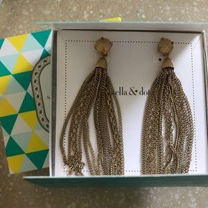 Stella & Dot fringe tassel earrings- gold